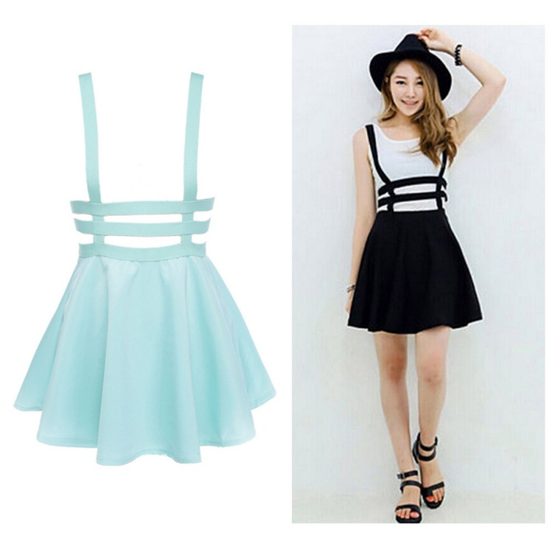 skater skirts new retro women hollow mini skater skirt summer cute suspender clothes  straps high waist KWYSUBJ