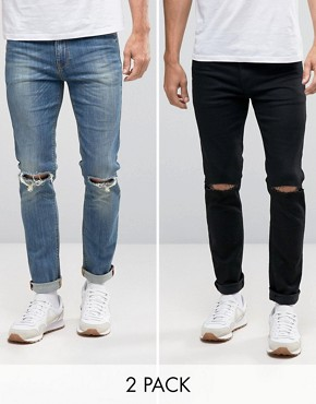 skinny jeans for men asos skinny jeans 2 pack in black with knee rips u0026 mid blue with knee YURNLRD