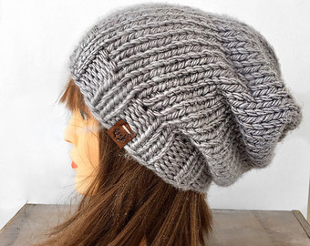 slouchy beanie / hand knitted beanie / knit beanie / winter knit hat / BFGTECQ