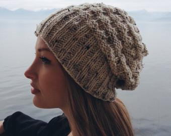 slouchy knit beanie // heathered textured off white beanie // fall knit  beanie / DLSMRBS