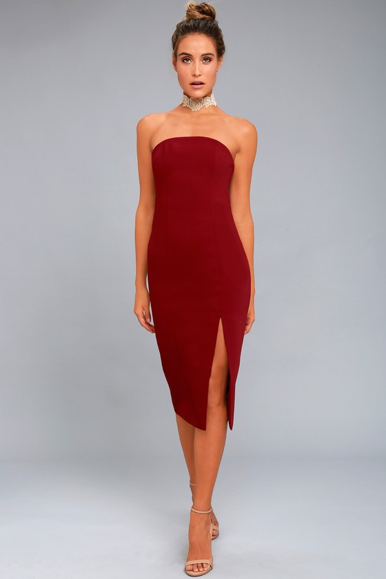 strapless dress finders keepers lucie wine red midi dress 1 DAVVIXK