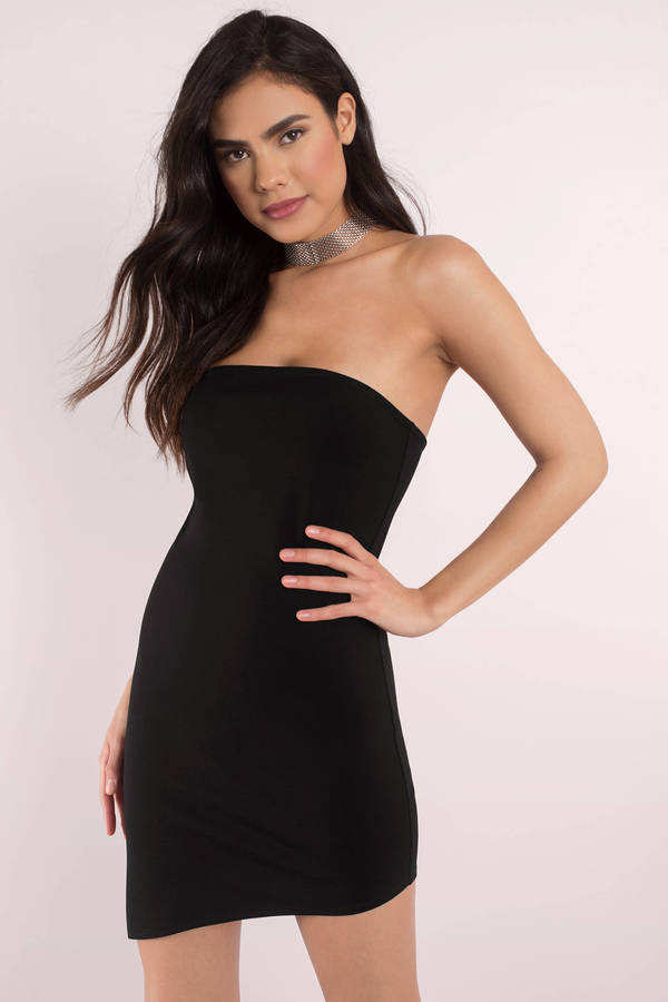 strapless dress side to side black bodycon dress VRPBZFG