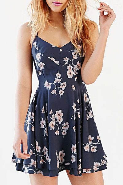 summer dresses fashionable spaghetti strap backless cut out print dress for women MKYMLCP
