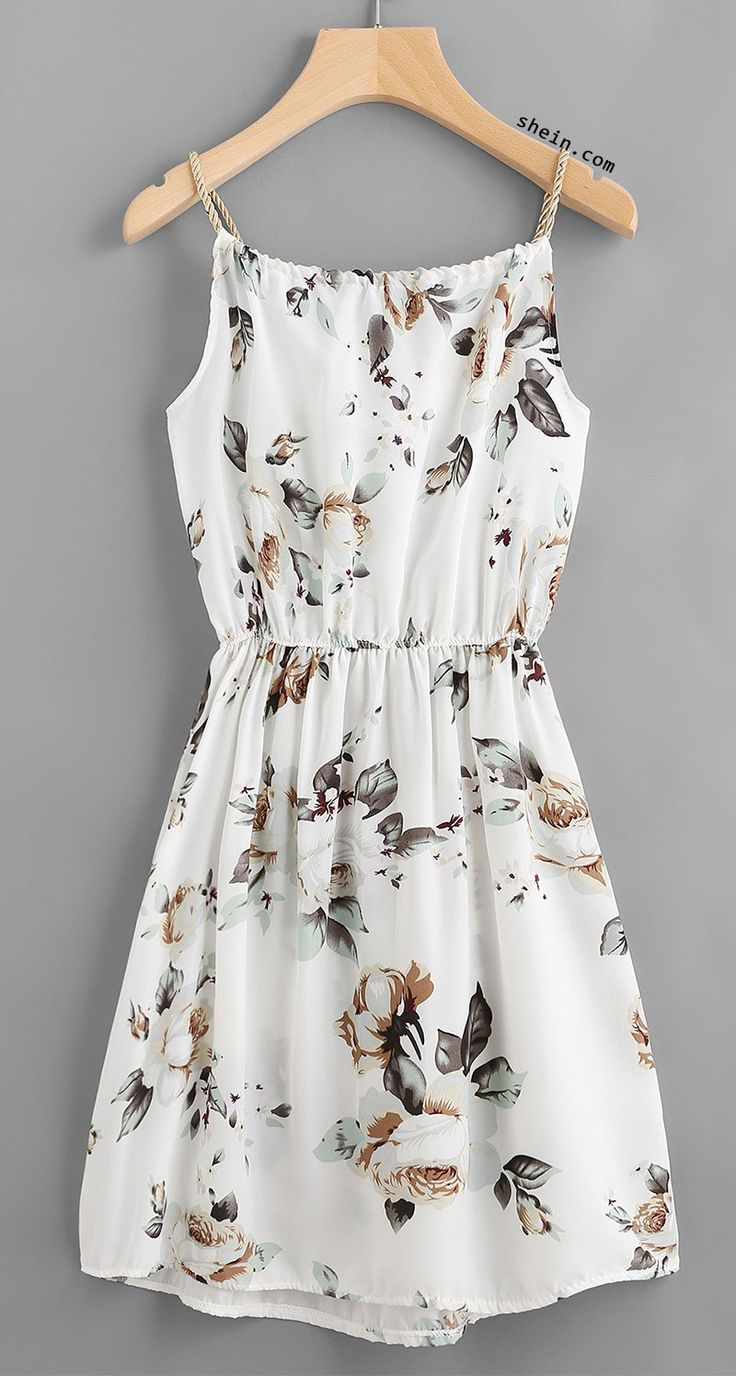 summer dresses floral print random drawstring elastic waist cami dress - would be better  if it RMQQWAF