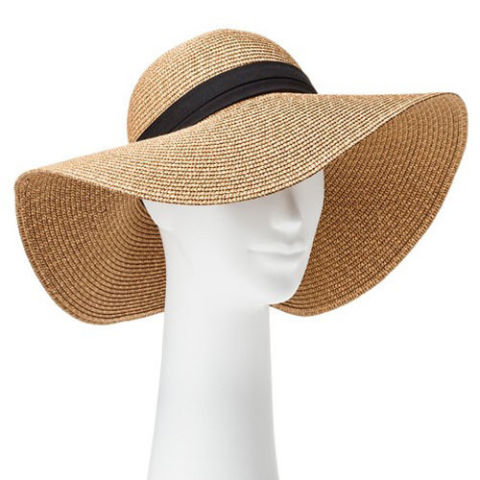 summer hats target tan floppy hat with black band DZSDCER
