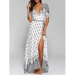 summer maxi dresses wholesale surplice high slit paisley maxi dress - white l floor-length  short sleeves QHUPUQH
