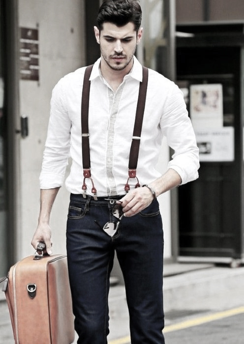 suspenders for men male how to wear suspenders with jeans outfits styles KBDVBDY