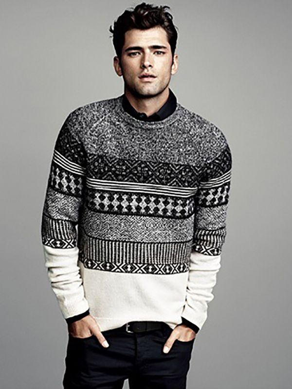 sweaters for men grey and white sweater - menu0027s fashion style winter sweater game POPMXSL