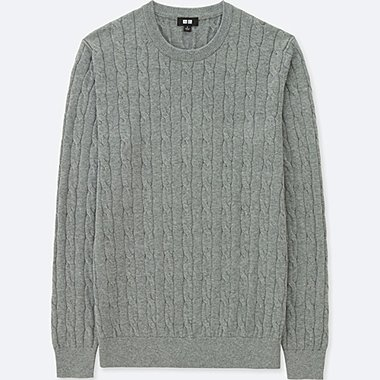 sweaters for men men cotton cashmere cable crew neck sweater, gray, medium CMEOXJG