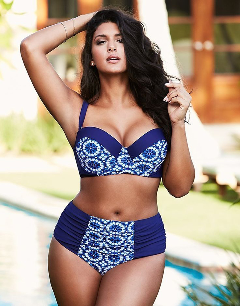 swimsuits for big busts brunette woman wears a halterneck two-piece swimsuit for big bust LIXYHRM