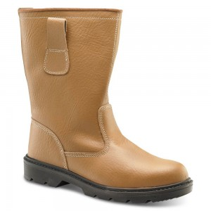 tan leather fur lined safety rigger boots with steel toe and midsole ZEPMXOQ