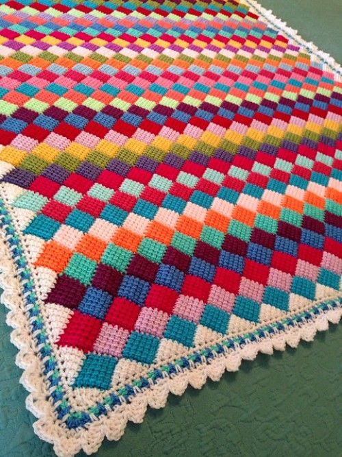 Tunisian Crochet patterns crochet for children: tunisian crochet entrelac throw - free pattern GRVRAUT