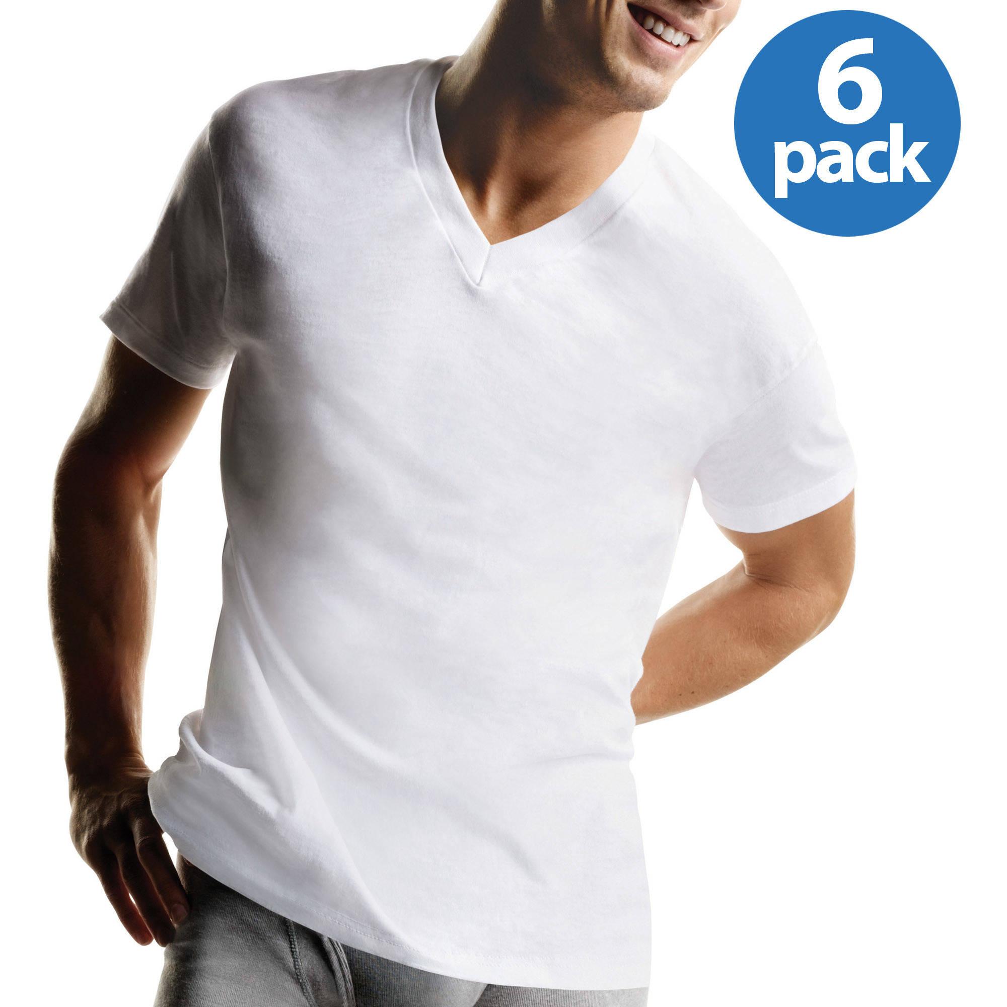 v neck t shirts hanes menu0027s freshiq comfortsoft white v-neck t-shirt 6-pack TKMCTNF