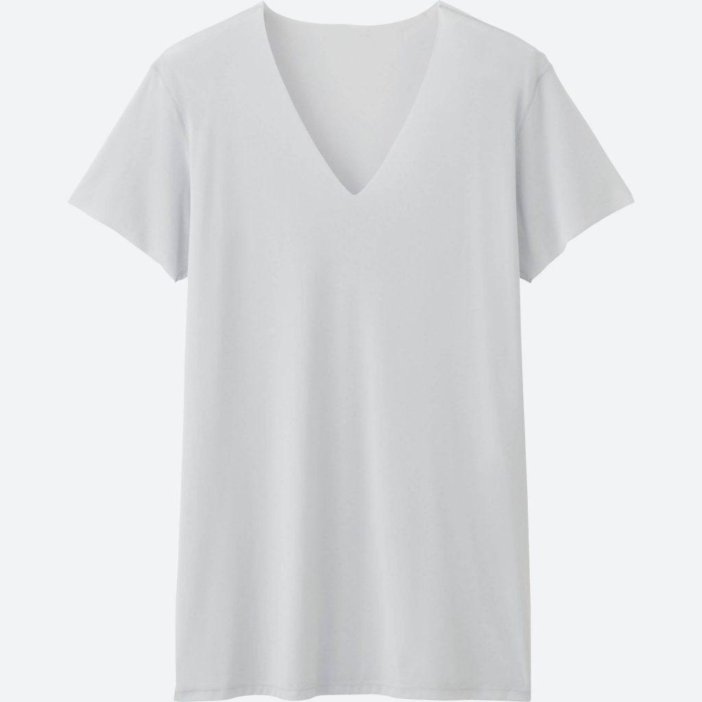 v neck t shirts men airism seamless v-neck t-shirt short-sleeve, light gray, YIJSMPH
