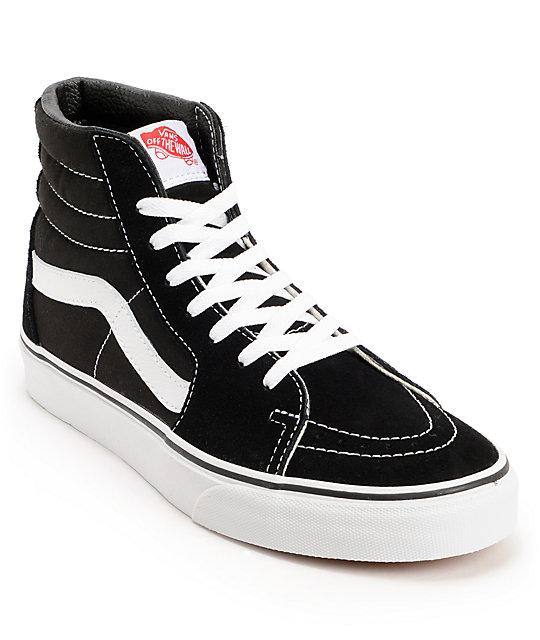 vans shoes vans sk8-hi black u0026 white skate shoes XUWPRVT