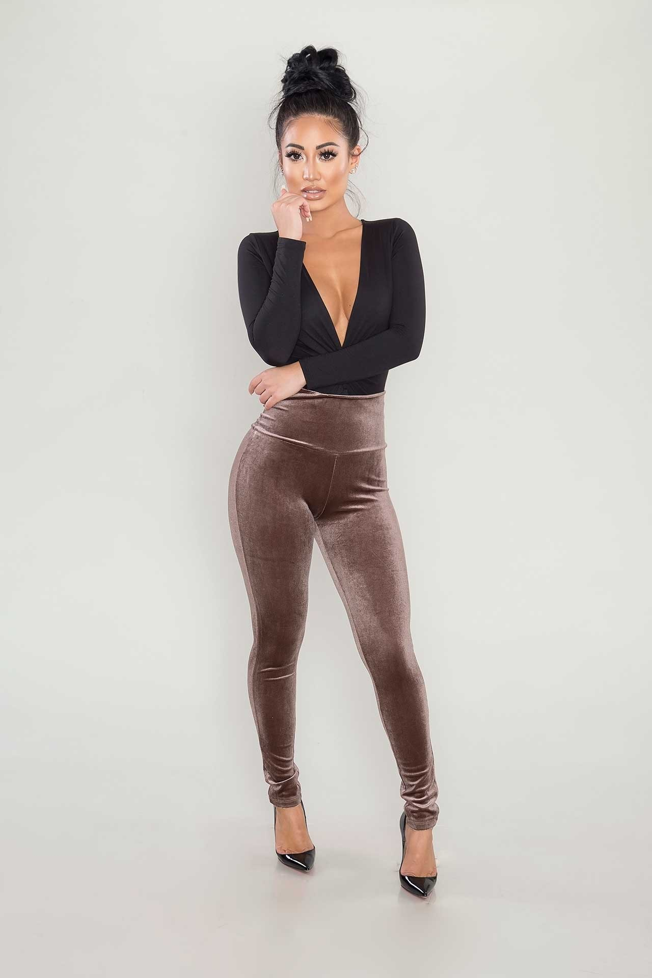velvet leggings - brown YMHYREA