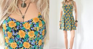 vintage clothing 90s floral dress 90s grunge sunflower dress floral mini dress rayon dress  90s dress VFUTKKG