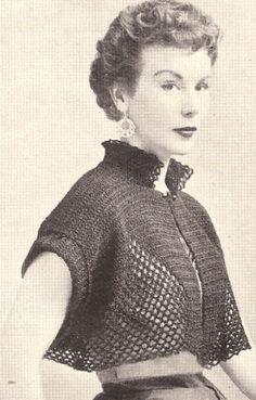 Vintage crochet shrug vintage crochet bolero shortie jacket cape pattern FBJXCNM