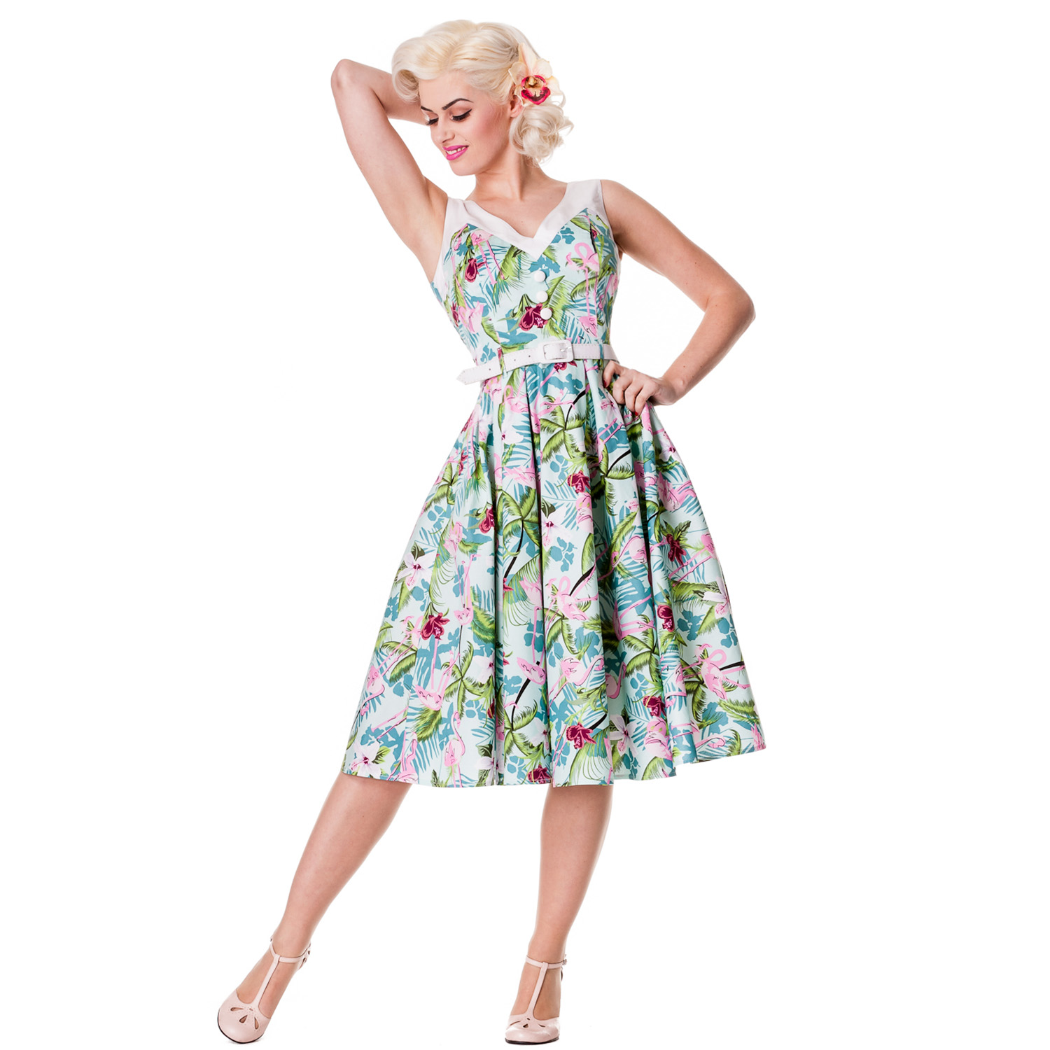vintage style dresses image is loading hell-bunny-larissa-floral-flamingo-rockabilly-vintage-style - LTTUTJS