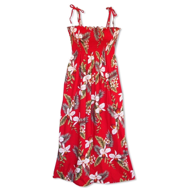 volcanic red maxi hawaiian dress - lavahut LOEWDBA