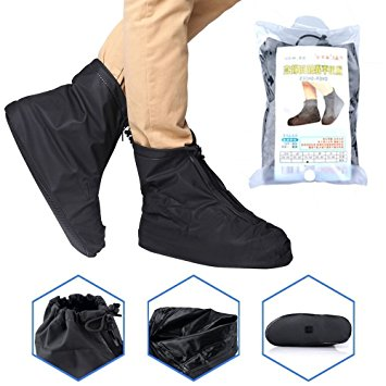 waterproof shoes cover resuable, ayamaya anti slip rain shoes cover zipper  rainproof full protection IHAMQBT