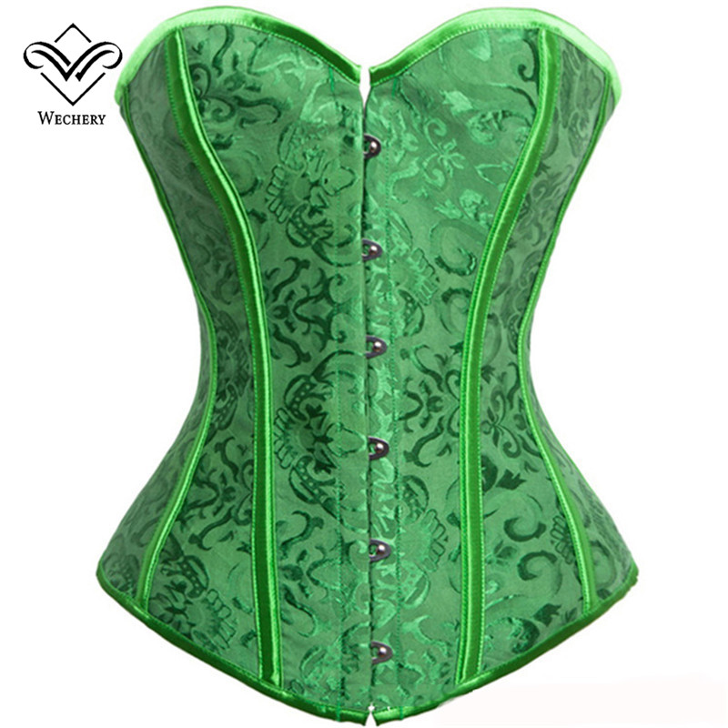 wechery sexy green corset corsage brocade royal wedding jacquard corsets  and bustiers for women VNHTOZA