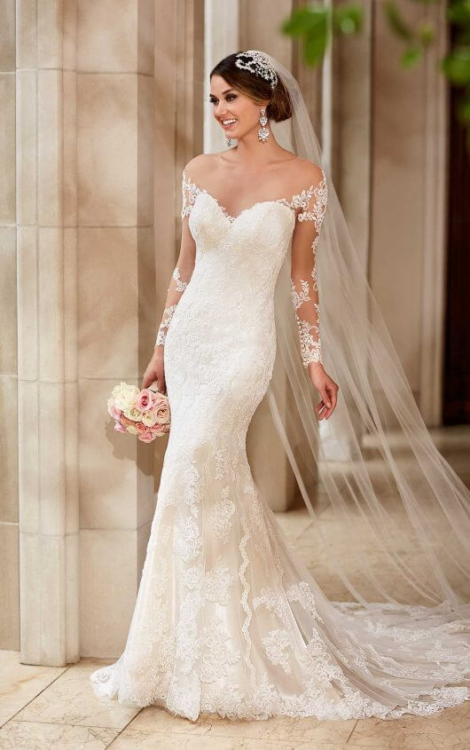 wedding dresses with sleeves ... 6176 wedding dress with lace sleeves by stella york ... DZYGSWI