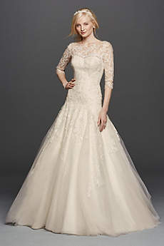 wedding dresses with sleeves long a-line vintage wedding dress - oleg cassini ULQVUAH