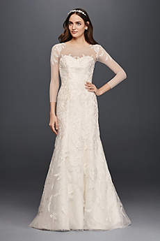 wedding dresses with sleeves long mermaid/ trumpet formal wedding dress - oleg cassini REPQVET