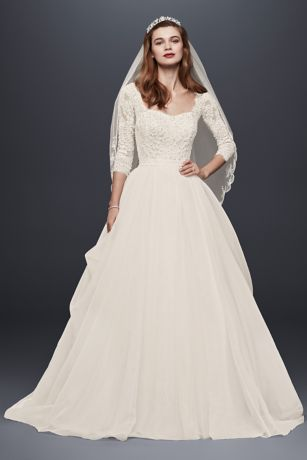 wedding dresses with sleeves oleg cassini organza wedding dress with 3/4 sleeve | davidu0027s bridal IFBRFCE