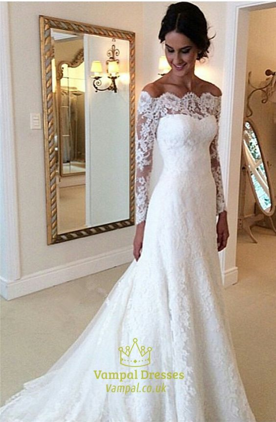 wedding dresses with sleeves white lace off the shoulder sheer long sleeve wedding dress with train NUJQTHE