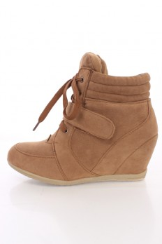 wedge sneaker camel lace up mid strap sneaker wedges faux suede KCGWVPU