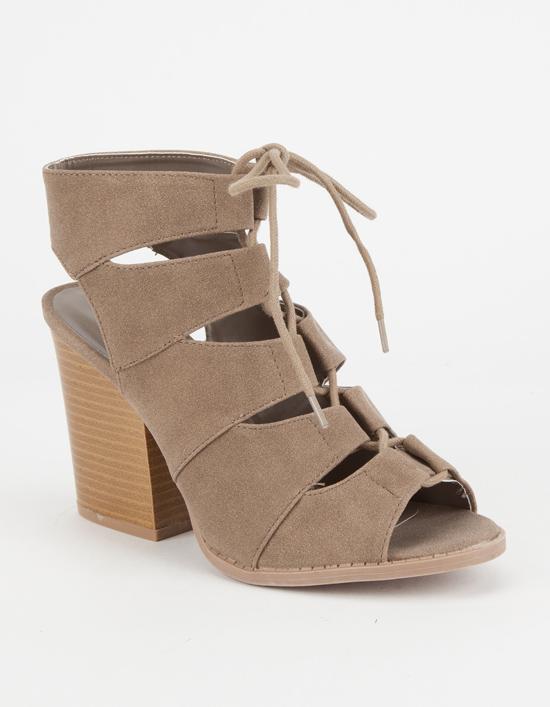 wedges heels qupid lace up peep toe womens booties brown QBGJIMV