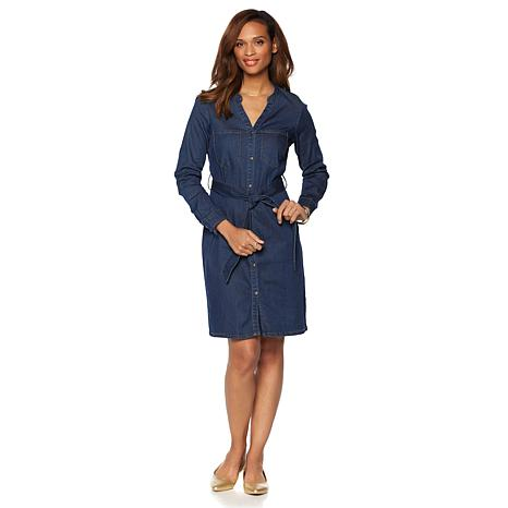 wendy williams belted denim shirt dress ODVUQTY