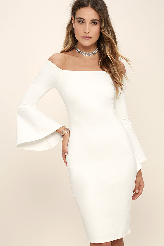 white dresses for women all she wants white off-the-shoulder midi dress 1 AEGWOCK