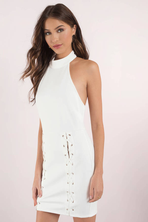 white dresses for women white dresses, white, meet me at the halter bodycon dress, ... RHCILIE