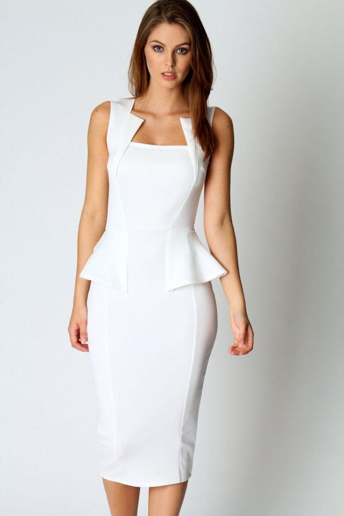 white dresses for women white midi dress ZADSOGY