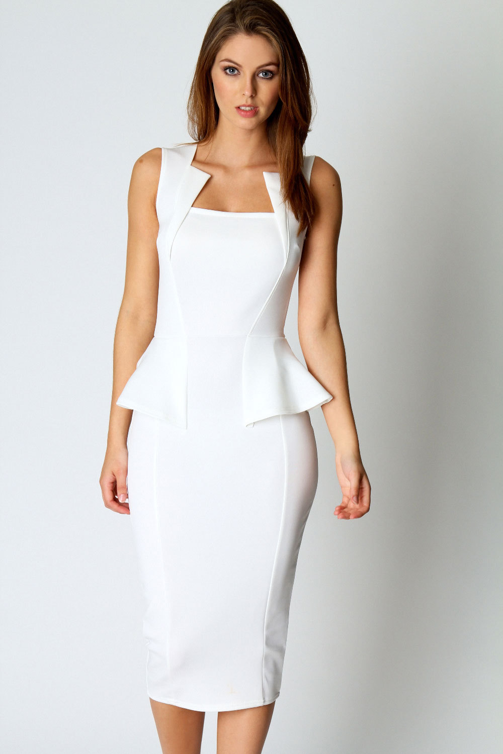 white dresses for women white midi dress ZADSOGY