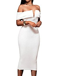 white dresses for women womenu0027s sexy v neck off the shoulder evening bodycon club midi dress ZXRYFSI