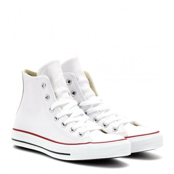 white high top converse converse chuck taylor all star leather high-top sneakers found on polyvore EYTSXSW