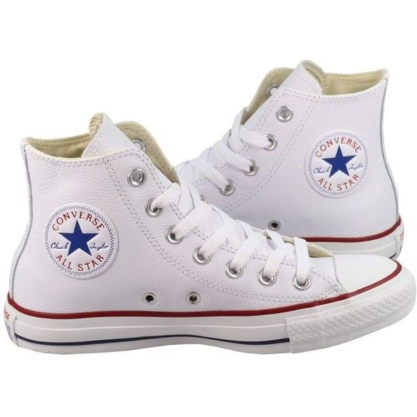 white high top converse converse womens shoes all star high white leather ($85) ❤ liked on polyvore  featuring PABJMOW