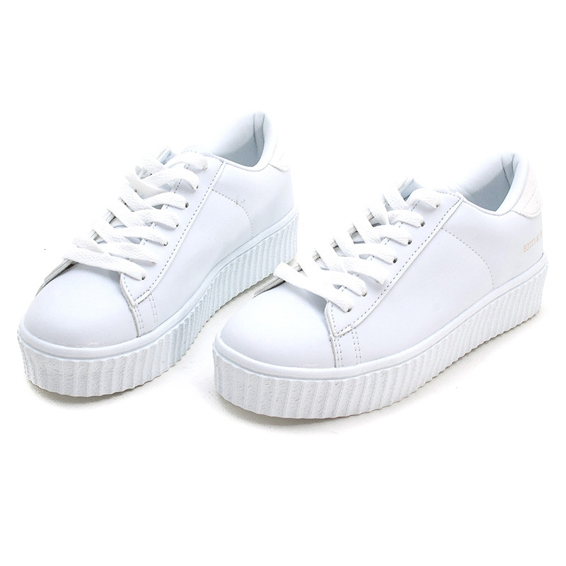 white platform sneakers womenu0027s synthetic leather featuring a lace ups chunky platform sneakers  white RKUZJXI