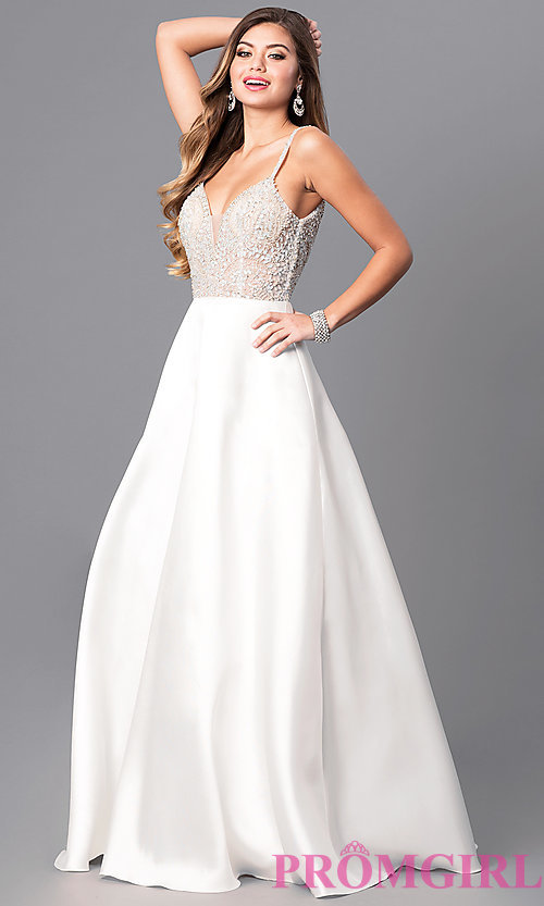 white prom dresses image of off-white long a-line prom dress with beaded bodice. style XQRKDZF