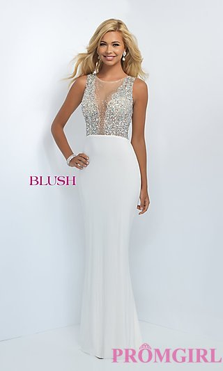 white prom dresses long sheer beaded illusion top prom dress-promgirl DVSAHPP
