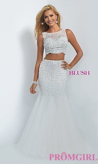 white prom dresses two piece, off white, mermaid dress-promgirl JQZUNAT