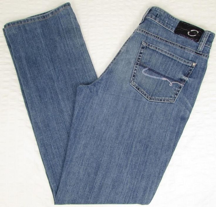 women cambio jeans straight leg mid rise faded light wash sz 30 x 33 euc ZSDPVHL
