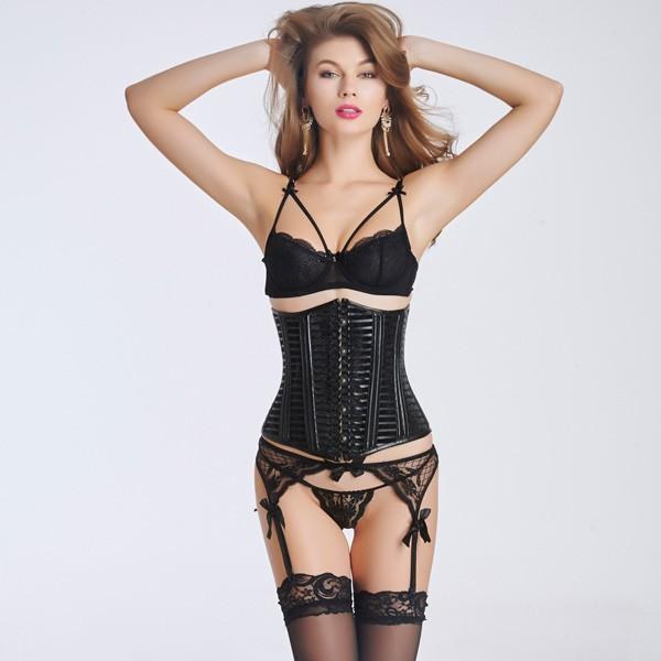 womenu0027s sexy black plastic boned front steel busk underbust corset cf6032  black ... JDRRHAZ
