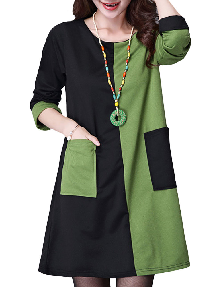 women vintage contrast color long sleeve pocket cotton dresses GAUOUTZ