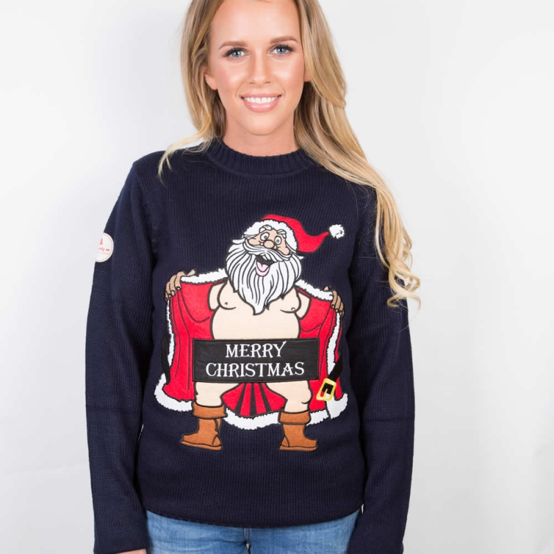womens christmas jumpers ... naked santa womens funky christmas jumper MKOTHWT