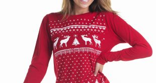 womens christmas jumpers ... women reindeer christmas jumper styled longsleeve tee. red reindeer  long sleeve top IDGYTFQ